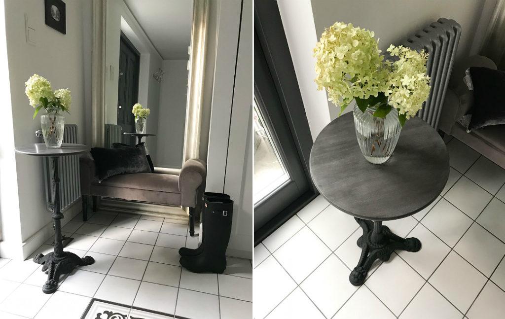 stolik na metalowej nodze stoliczek z drewnianym postarzanym blatem