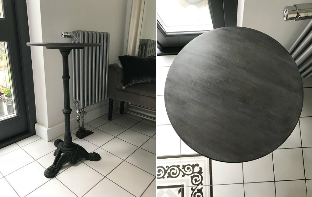 stolik do przedpokoju holu mały stoliczek metalowa noga drewniany blat