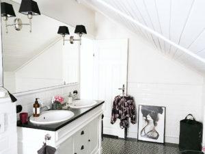 Aranżacje łazienek, remont łazienki, łazienka biało czarna, wystrój łazienki, kobieca łazienka