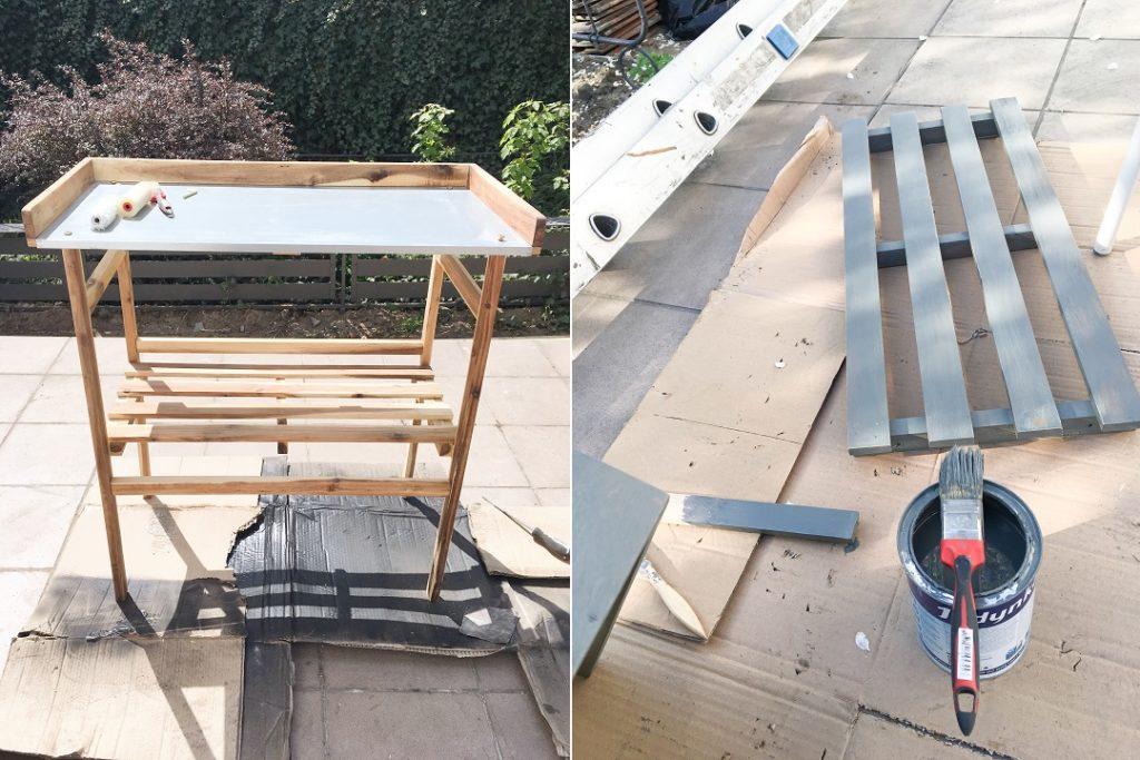 ogrodowy stół do przesadzania, ogrodowy stół roboczy, stolik do sadzenia