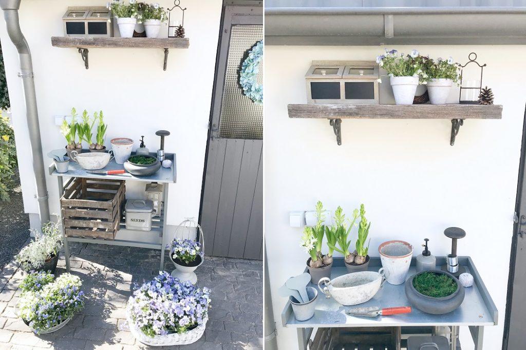 stolik roboczy do ogrodu, stolik do przesadzania, stół ogrodowy do przesadzania roślin, stół do sadzenia