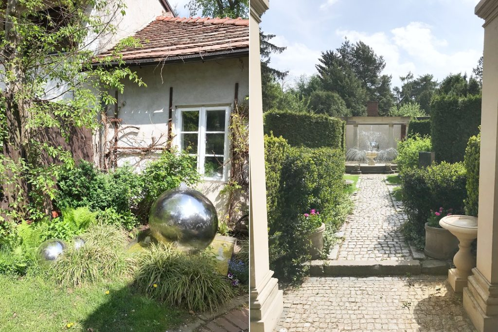 stylowy ogród, tajeminiczy ogród, kule w ogrodzie, fontanna w ogrodzie, mała architektura ogrodowa