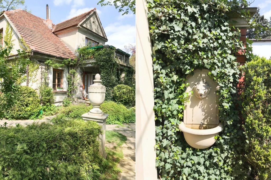 stara willa, tajemniczy ogród, stylowy ogród, kamienne dekoracje ogrodowe
