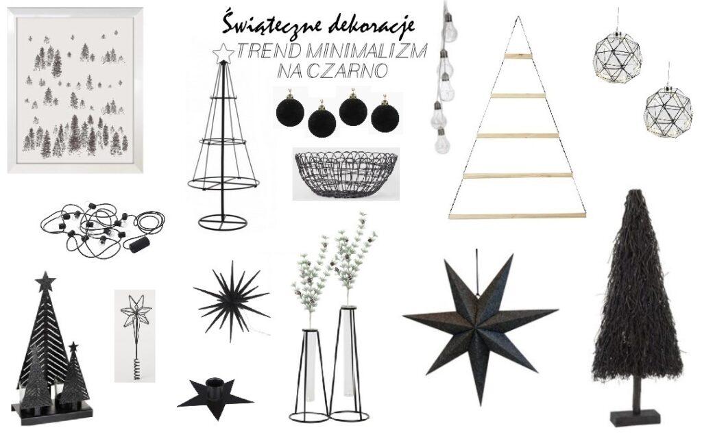 ozdoby choinkowe trendy 2020, jak udekorować dom na święta, świąteczne dekorowanie, dom gotowy na święta, dekoracje, ozdoby, czarne bombki, minimalizm na święta, metalowa choinka