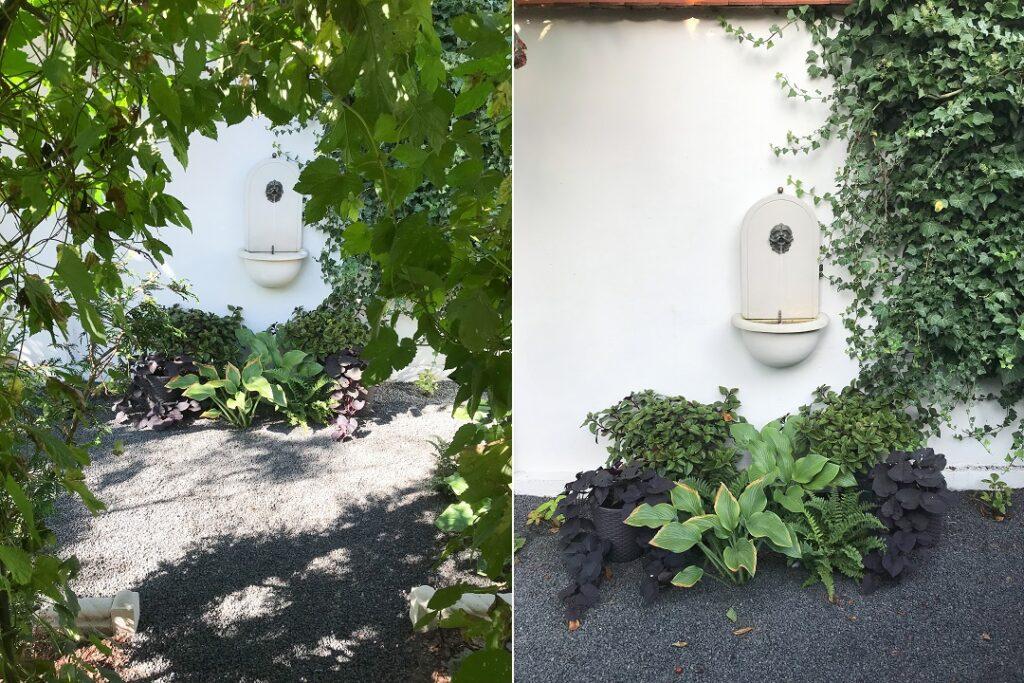 architektura ogrodowa, kamienne dekoracje do ogrodu, wodozbiór, poidełko, fontanna, stary ogród, tajemniczy ogród, w tajemniczym ogrodzie